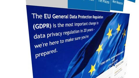 Khimki, Russia - December 25, 2017:  The homepage of the official website for EU GDPR (General Data Protection Regulation), on December 25, 2017.