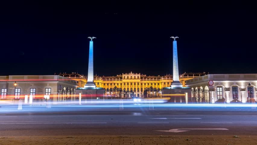 Schonbrunn Palace (Schloss Schönbrunn) Vienna Austria at night timelapse. Entrance to Palace.