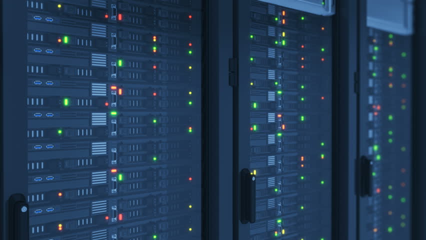Close-up Servers in Modern DataCenter. Cloud Computing Data Storage. Heavy 3d Rendering and Complex Calculations. Looped 3d animation. 4k UHD 3840x2160.