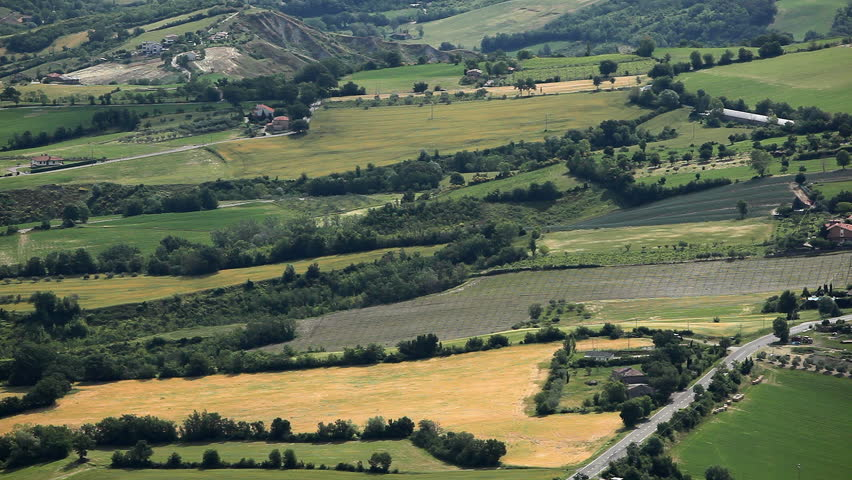 HD Aerial View of San Marino, Beautiful Landscape, Fields, Hills, Green Nature