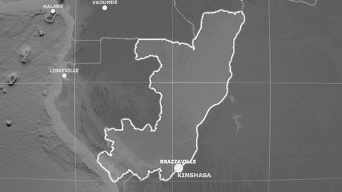 Zoom-in on Congo Brazzaville outlined on the globe. Capitals, administrative borders and graticule. Elevation & bathymetry - grayscale