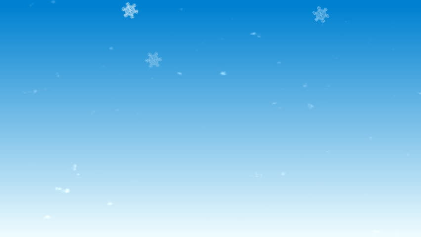 Animation of a falling snow on a blue background.