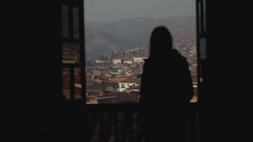 Silhouette of the girl waching on a old city.Beautiful woman drinking hot tea by the window with old city view. | Shutterstock HD Video #34351759