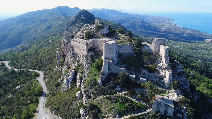Kantara castle, North Cyprus, aerial