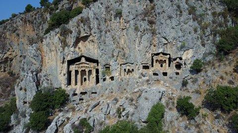 Royal tombs in Dalyan Bodrum Mugla Turkey