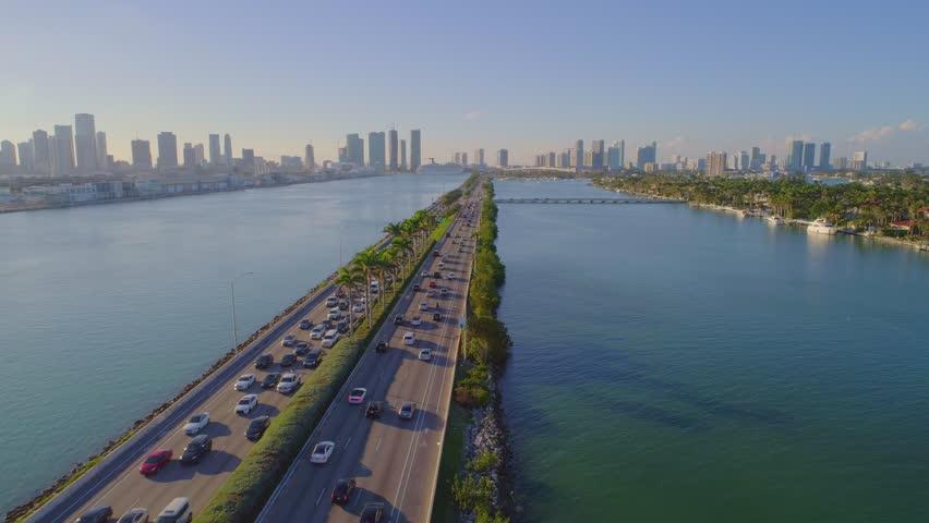 Macarthur Causeway Miami Beach drone aerial flyover 4k traffic cam