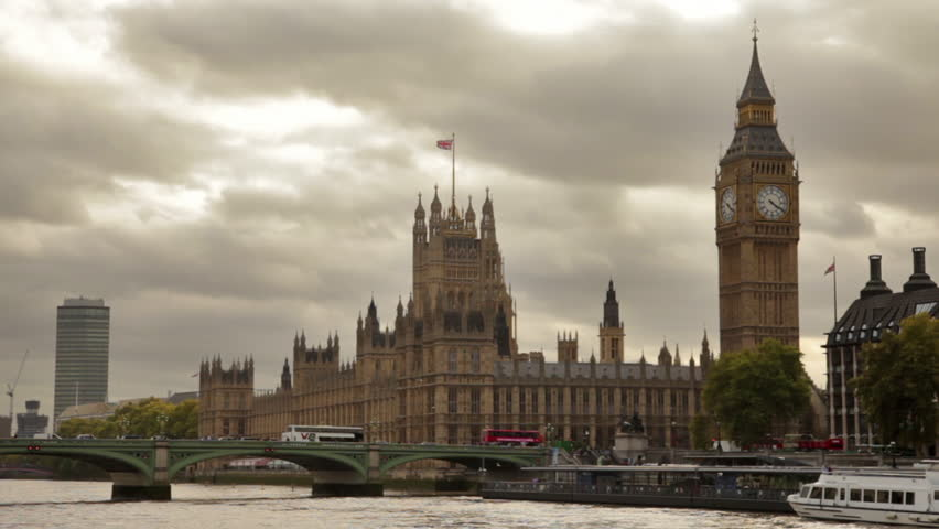 Distant view of Westminster palace, Big Ben, and Westminster bridge, located in