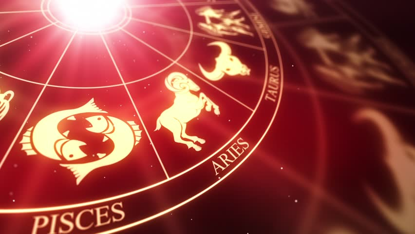 Zodiac Horoscope Astrological Sun Signs On a Spinning Wheel or Chakra | Seamless Looping Animated Motion Background Red Maroon Golden