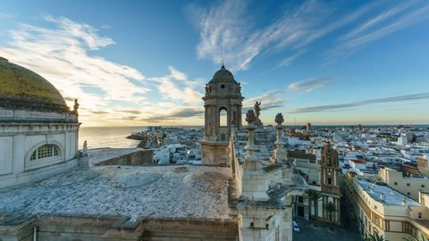 Cadiz Cathedral View From Levante Tower Cadiz Spain Time-Lapse