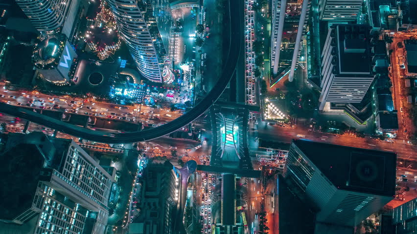 Time lapse,Hyperlapse ,Of traffic on city streets at night. Aerial view and top view of traffic on freeway, 4K. #34414909
