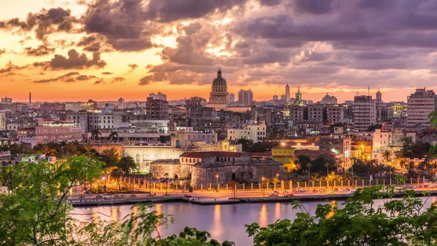 Havana, Cuba old town skyline time lapse.