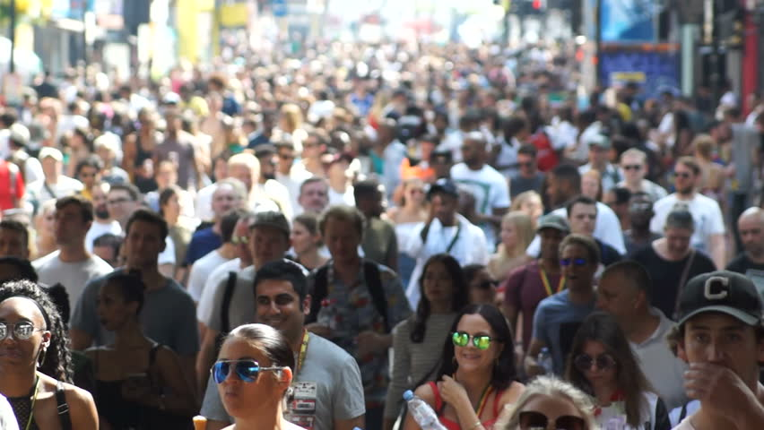 London, United Kingdom – August 26th 2017: Large, diverse crowd of people descend on the Notting Hill Carnival