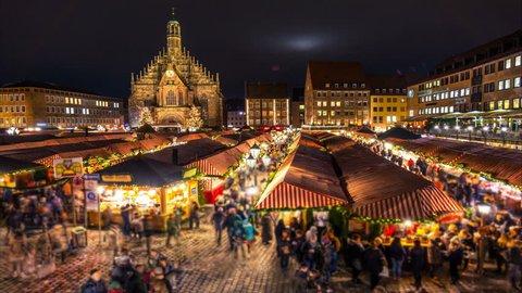 Nuremberg Christmas (christkindlesmarkt) market. Night time lapse.