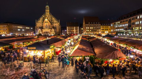 Nuremberg Christmas (christkindlesmarkt) market. Night time lapse. Zoom effect