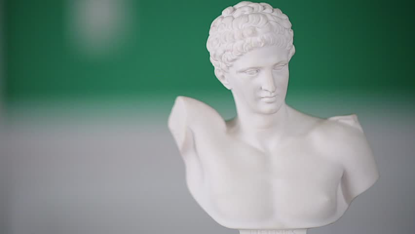 White Marble bust with 180 degree view. Greek sculpture. Hermes was messenger of the gods, moving freely between worlds.