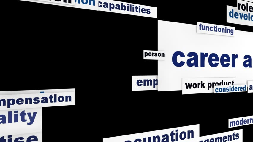 Career advice employment words cloud design. Recruitment help message background