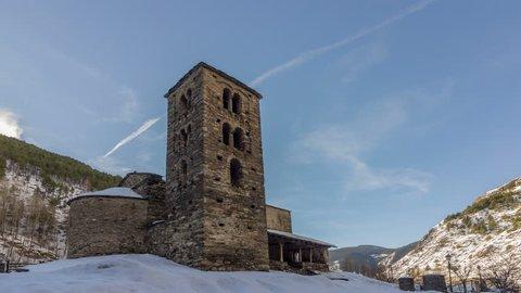 Sant Joan de Caselles Church built in the 11-12th century, in Canillo village. Andorra la Vella, Andorra.