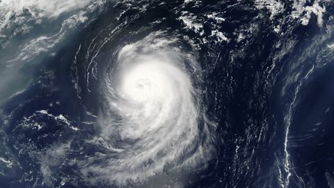hurricane spinning in ocean from satellite from above. eye of a large typhoon. hurricane in the ocean. hurricane storm, tornado, satellite view