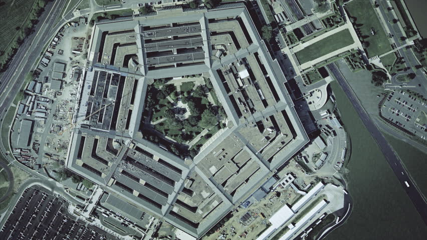 Aerial establishing shot of the Pentagon Building.