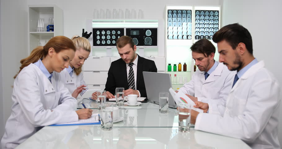 Manager Man Confident Talking Looking Camera Presentation Medical Team Activity | Shutterstock HD Video #34594759