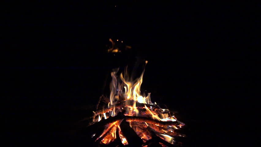 Burning fire at night, campfire bonfire 240 fps (8x) slow motion, hd 1080p video footage