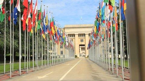 GENEVA, JUNE 2012 : Tracking shot at UN headquarter entrance in Geneva, Switzerland.