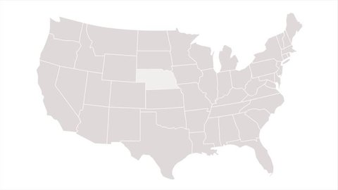 USA map with lighting each state