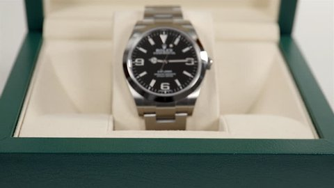 TORONTO, CANADA - DECEMBER 2017: Close Up of a Rolex Oyster Perpetual Explorer inside the original box. Ref 214270