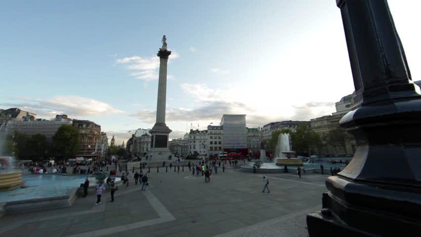 LONDON - OCTOBER 7, 2011: Trafalgar Square panorama in London