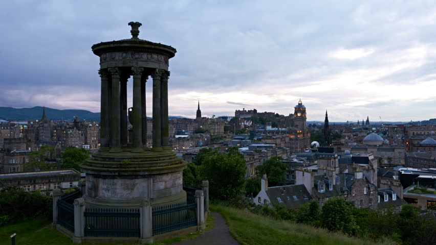 timelapse of sunset over Edinburgh, Scotland
