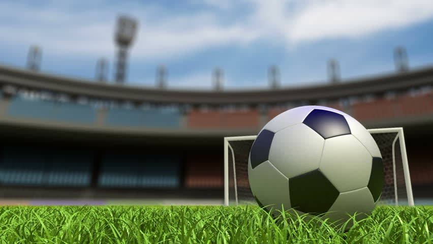 Football background, soccer ball on the grass at stadium. 3d animation