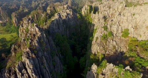 Aerial view of limestone mountain at Noen Maprang of Phitsanulok, Thailand