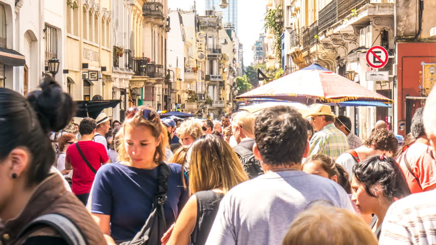 BUENOS AIRES, ARGENTINA – SEPTEMBER 12: Time-lapse view on People and tourist who visit the famous and historic neighbourhood of San Telmo on September 12, 2016 in Buenos Aires, Argentina.