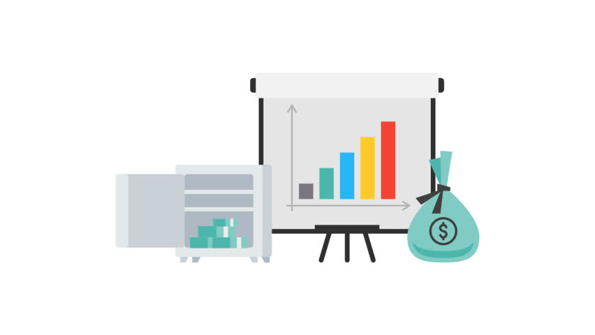 Flip chart with growth graph safe money and cup objects set. Motion graphics. Transparent background.