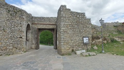 Gate of the historical fortress of Tsar Samuel on the hill top in Ohrid, Macedonia