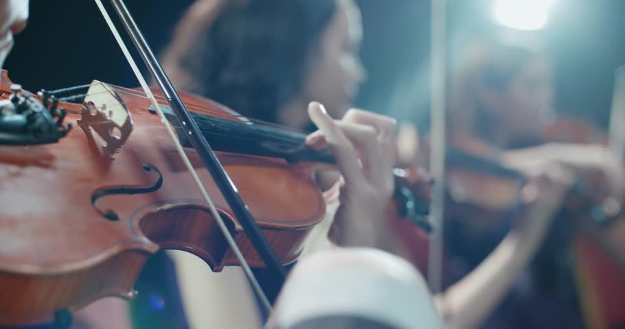 String quartet performs on stage, close-up of violin in work | Shutterstock HD Video #34735459