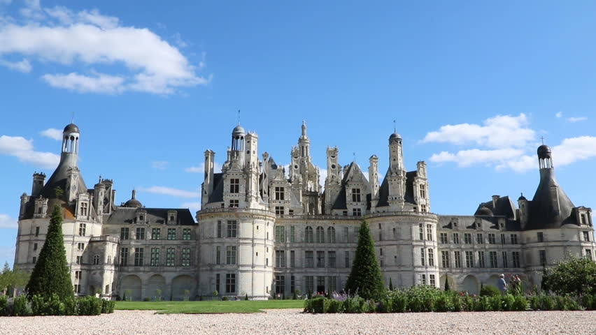 Château Chambord, Front Façade, Zooming In To Turrets, Loire Valley, France