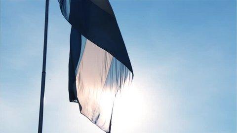 Argentina Flag Wave Backlight Sun. Close-up Shot.