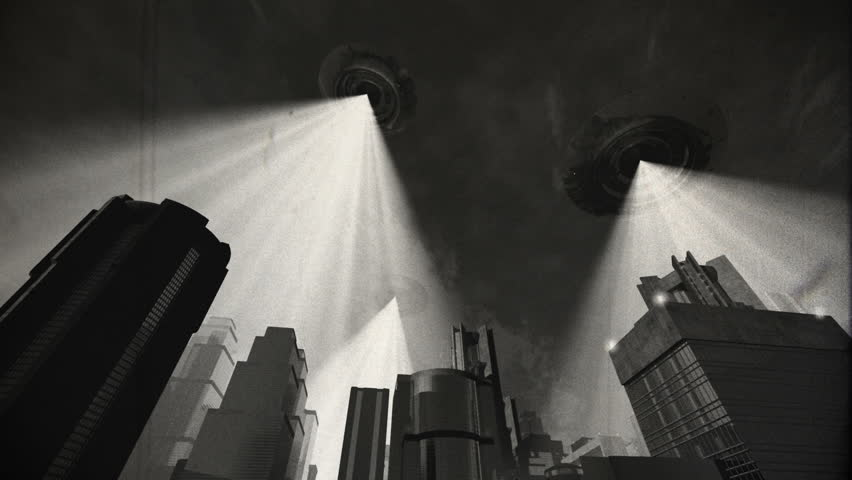 UFO Invasion Scanning in Metropolis Vintage Design