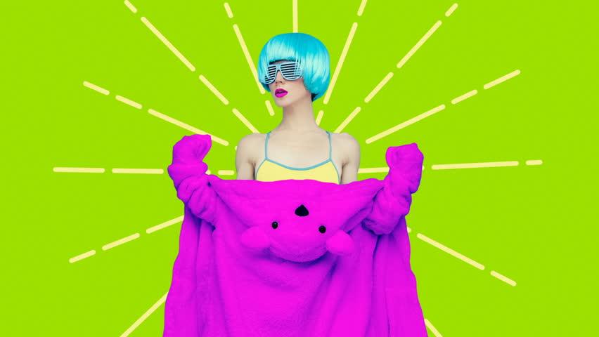 Minimal Motion art. Colorful fashion Make up concept