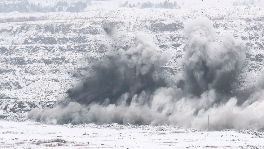 Explosion blast in open cast mining quarry mine