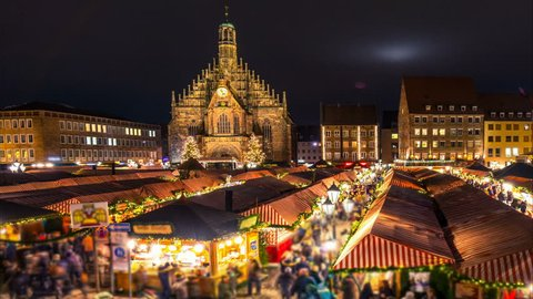 Nuremberg Christmas market. Night time lapse. Camera moves from left to right