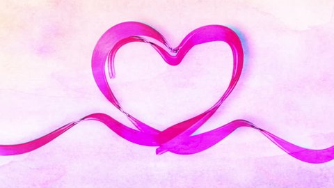 Heart Painted In Watercolor, Hand drawn animation Watercolor Love Heart, Happy Valentines Day, Wedding and Mothers day. Ribbon heart shape paint illustration, 3d animation, white background Alpha mask