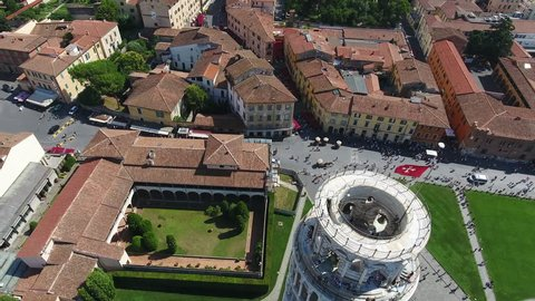 Leaning Tower of Pisa. Aerial shot of the tower of Pisa in the ensemble of Santa Maria Assunta in the city of Pisa in Italy