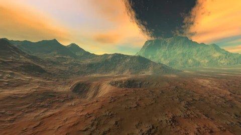 Volcano, 3D rendering, a martian landscape, a beautiful animation, black smoke in a fantastic sky.