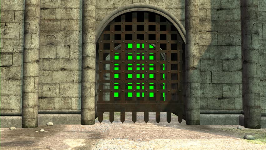 Next opening of two grilles of the entrance to a medieval castle on a chroma key background