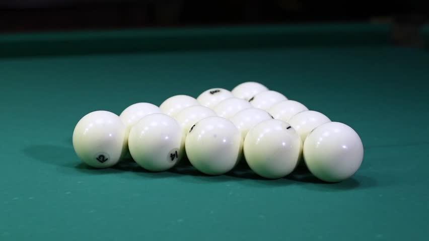 Cue sports. Russian pyramid. Billiard pool break. Slowmotion | Shutterstock HD Video #34894078