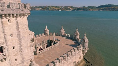 Portugal Lisbon Belem Tower Aerial close  view Tagus river Famous tower Summer  4k