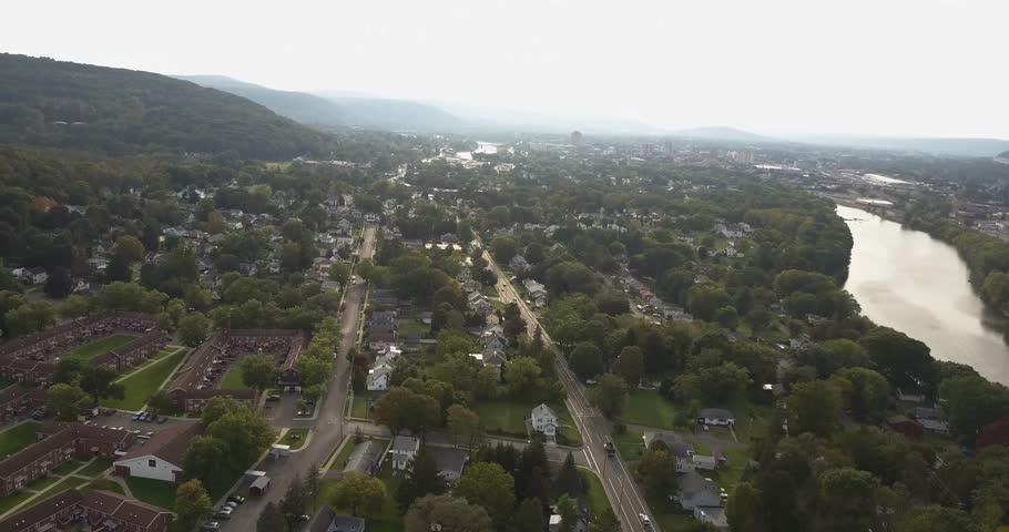 Reverse aerial of binghamton new york state hills   Shutterstock HD Video #34933051