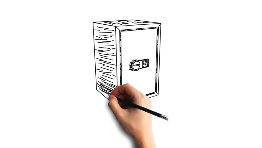 Whiteboard Stop-Motion Style Animation Hand drawing the safe   Shutterstock HD Video #34946317